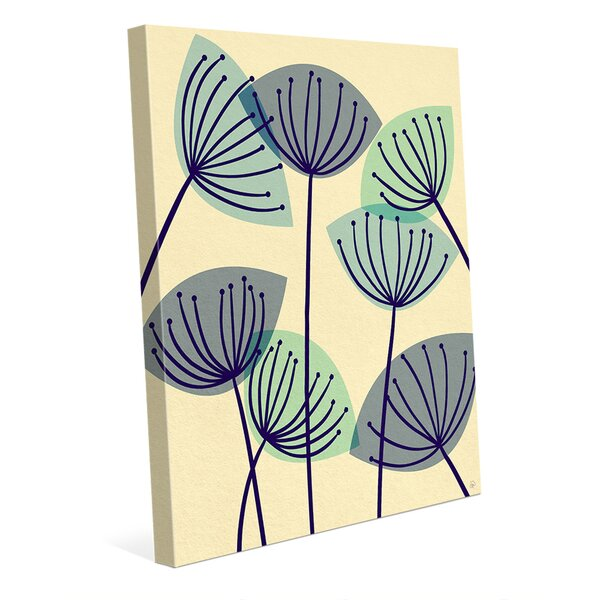 Dandelions Blue Graphic Art on Wrapped Canvas on Plaque by Click Wall Art