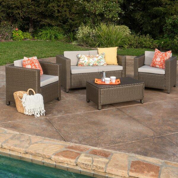 Kappa 4 Piece Rattan Sofa Set with Cushions by Mer
