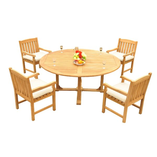Mateer 5 Piece Teak Dining Set