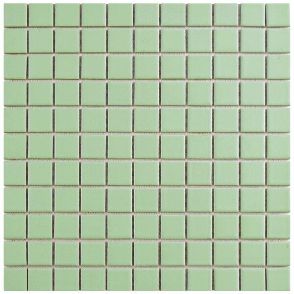 Retro 1 x 1 Porcelain Mosaic Tile in Matte Light Green by EliteTile