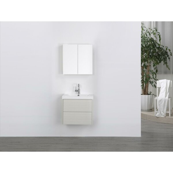 24 Wall-Mounted Single Bathroom Vanity Set with Mirror by Streamline Bath