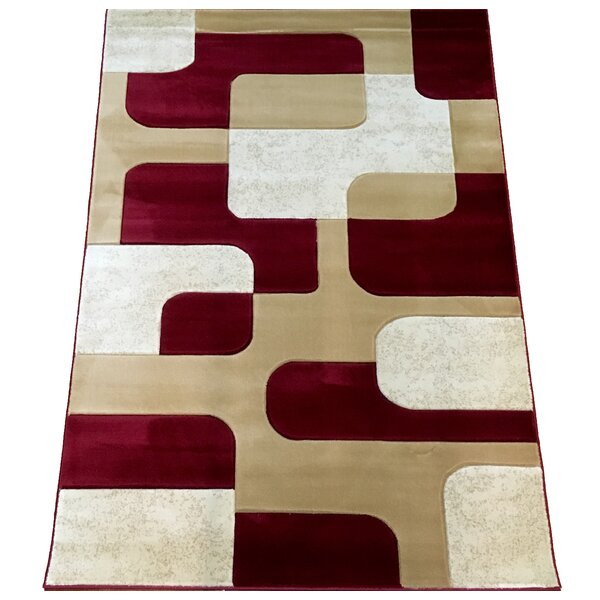 Hand-Carved Red Area Rug by Brady Home