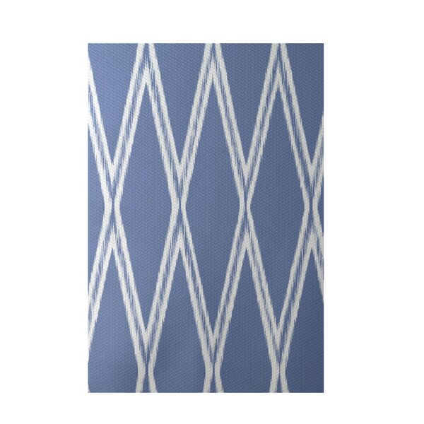 Gate Keeper Geometric Print Blue Indoor/Outdoor Area Rug by e by design