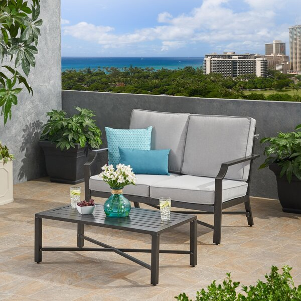 Poff Outdoor 2 Piece Deep Seating Group with Cushions by Canora Grey