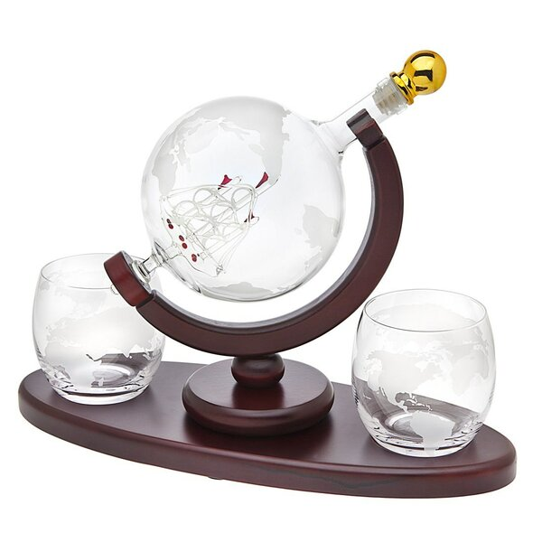 Rexdale Crystal Globe 3 Piece Whiskey Decanter Set by Winston Porter