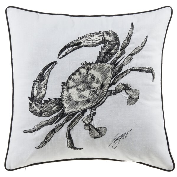 Buariki Crab Sea Creatures Cotton Throw Pillow by Highland Dunes
