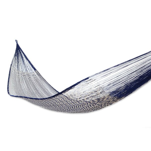 Portable Double Person Ocean Waves Hand-Woven Mayan Artists of the Yucatan Natural Cotton with Hanging Accessories Included Camping or Outdoor Hammock by Novica Novica