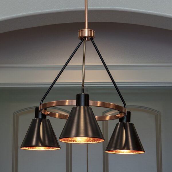Wilmslow 3-Light Shaded Wagon Wheel Chandelier By Williston Forge