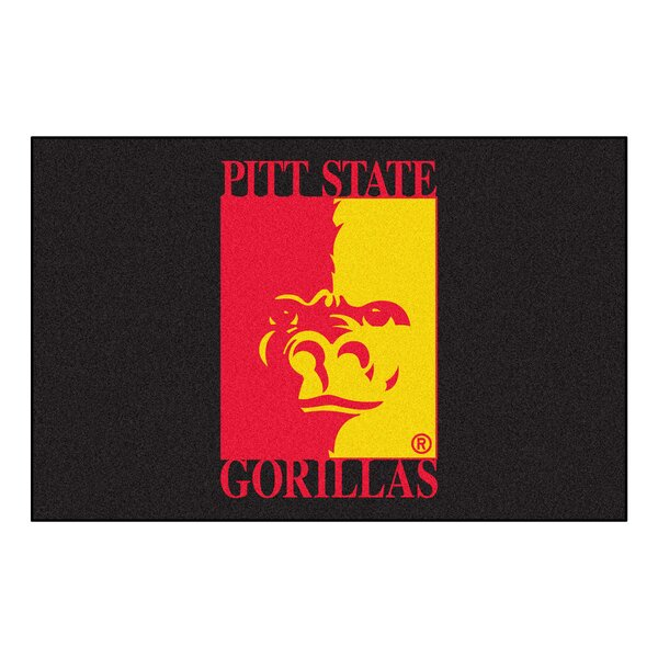 Collegiate Pittsburg State University Starter Hand-Woven Black Area Rug by FANMATS