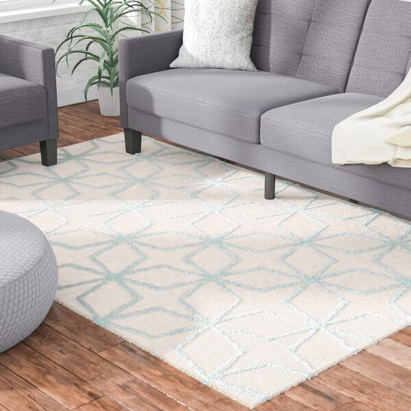 Sariya Hand-Tufted Tan/Blue Area Rug by Ebern Designs