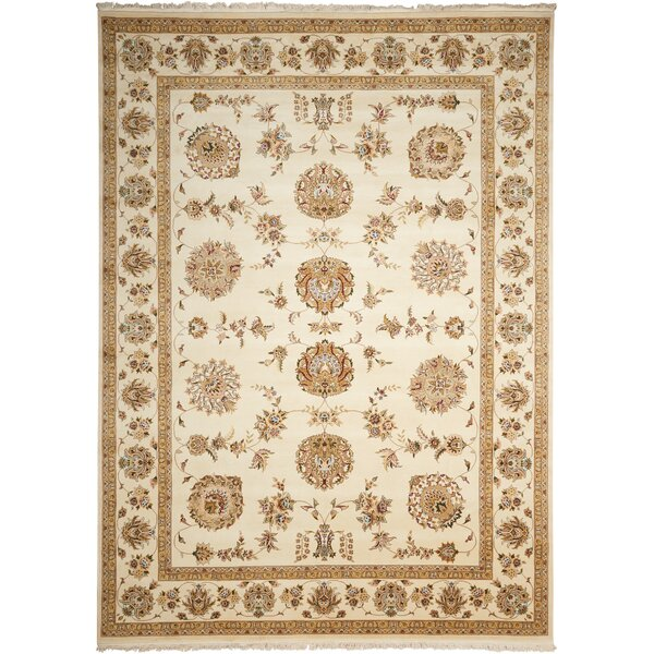 Dunluce Hand-Knotted Wool Beige/Ivory Area Rug by Canora Grey
