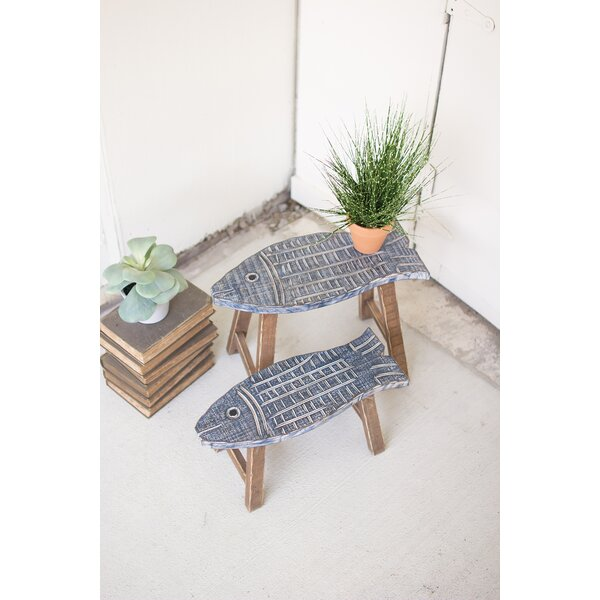 Hudak Wooden Fish 2 Piece Accent Stool Set by Highland Dunes