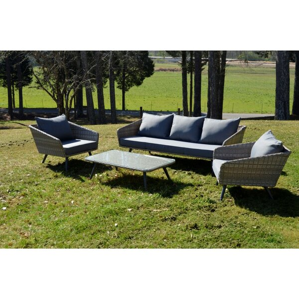 Encino 4 Piece Outdoor Sofa Seating Group with Cushions by Kingston Casual Furniture