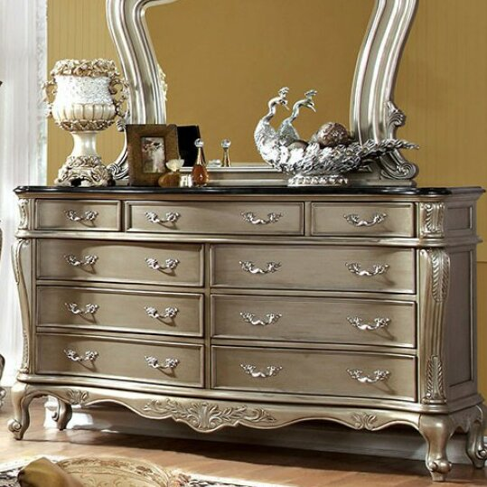 Borman 9 Drawer Dresser with Mirror by Rosdorf Park