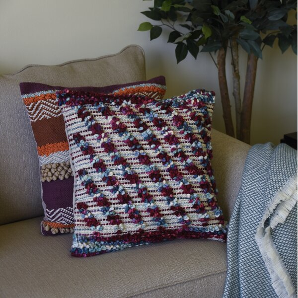 Argent Hand Tufted Striped Throw Pillow by World Menagerie