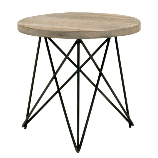 Olive Metal Base with Round Wooden Top End Table by 17 Stories
