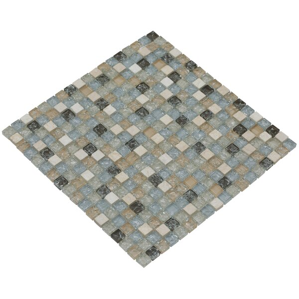 Mesh Pess 12 x 12 Glass/Stone Mosaic Tile in Light Gray/Tan by Mirrella