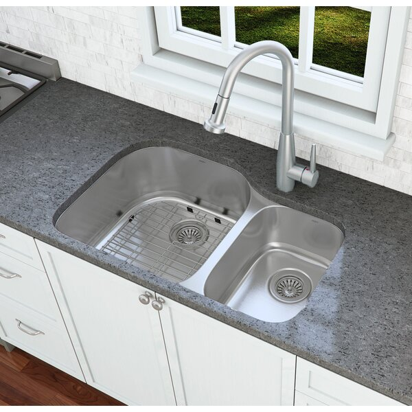Capri Series 32 L x 20.6 W Double Basin Undermount Kitchen Sink with Faucet by Ancona