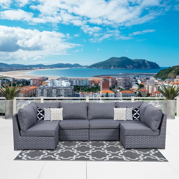 Palmer Square Patio Sectional with Cushions by Highland Dunes Highland Dunes