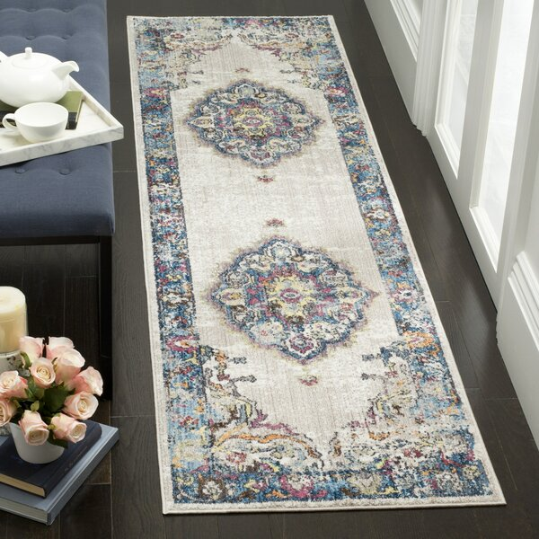 Fitzhugh Power Loomed Light Gray/Blue Area Rug by World Menagerie