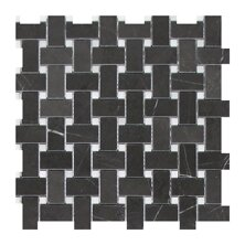 1 x 2 Marble Mosaic Tile in Graphite by Seven Seas