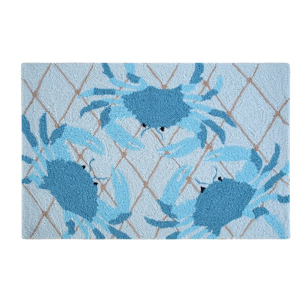 Nazia Netted Crabs Coastal Blue Area Rug by Highland Dunes