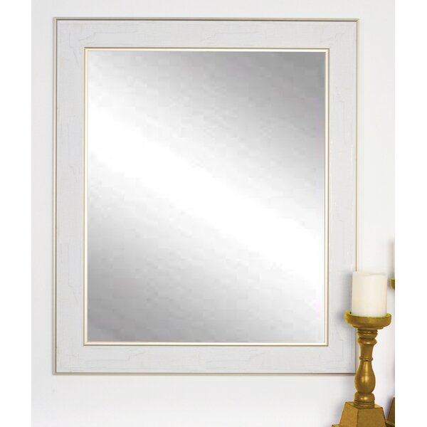 Rectangle White/Gold Cracked Wall Mirror by One Allium Way