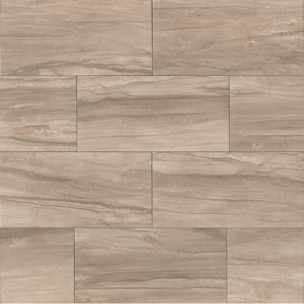 Athena 12 x 24 Porcelain Field Tile in Ash by Bedrosians