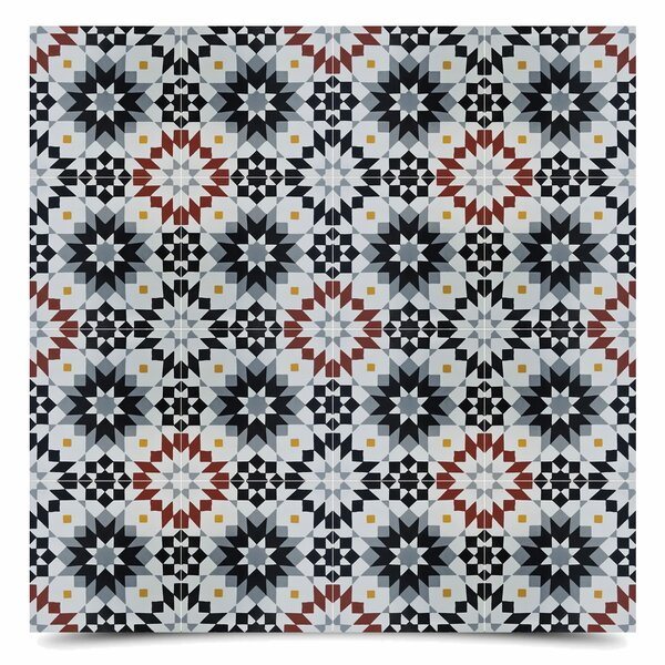 Safi 8 x 8 Cement Field Tile in Black/Gray by Moroccan Mosaic