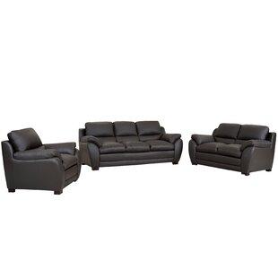 Marson Leather 3 Piece Living Room Set by Latitude Run
