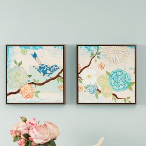 'Blooming Florals'  2 Piece Painting Print on Wrapped Canvas Set by Intelligent Design