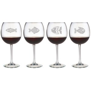 Fish Assortment Red Wine Glass (Set of 4)