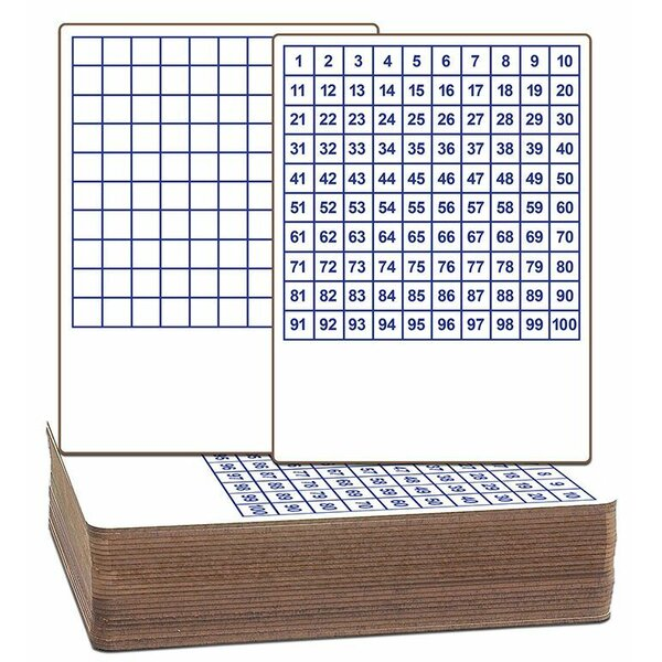 Hundreds Grid Two Sided Dry Erase Lap Board Whiteboard, 9 x 12 (Set of 24) by Flipside Products