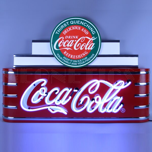 ART Deco Marquee Coca-Cola in Steel Can Wall Light by Neonetics