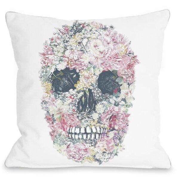 Dia Muertos Skull Flowers Throw Pillow by One Bella Casa