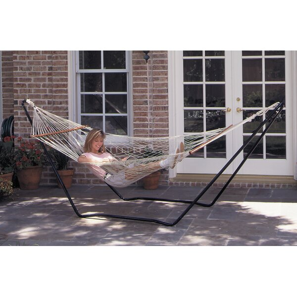 Hubert High Island Rope Cotton Hammock with Stand by Texsport