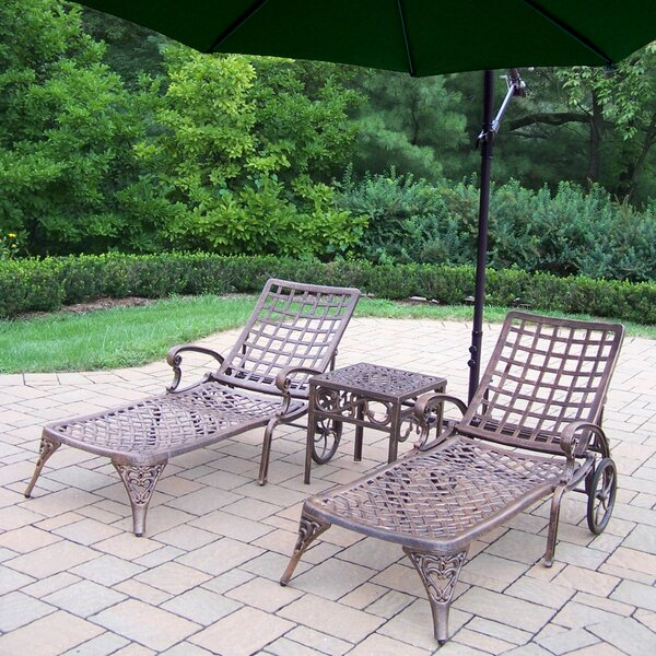Thelma Reclining Chaise Lounge Set with Cushions and Table by Astoria Grand