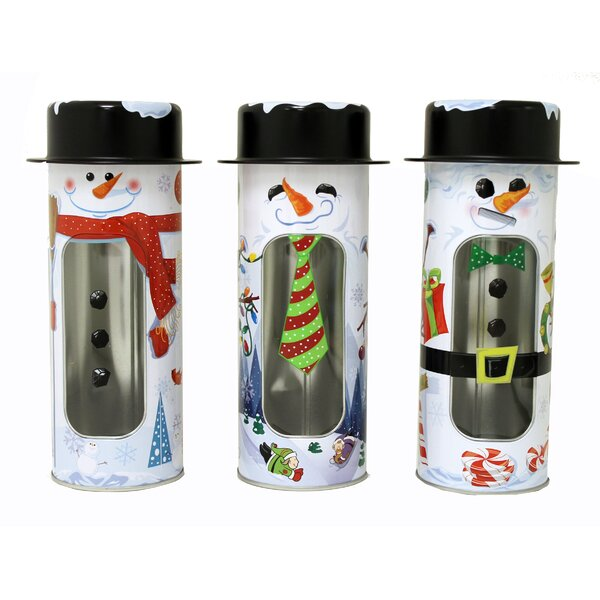 Holiday Snowman Window 3 Piece Container Tin Set by The Holiday Aisle