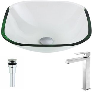 Cadenza Glass Square Vessel Bathroom Sink with Faucet ANZZI