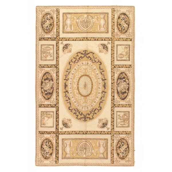 Modern Aubusson Hand Knotted Wool Cream Area Rug by Pasargad NY
