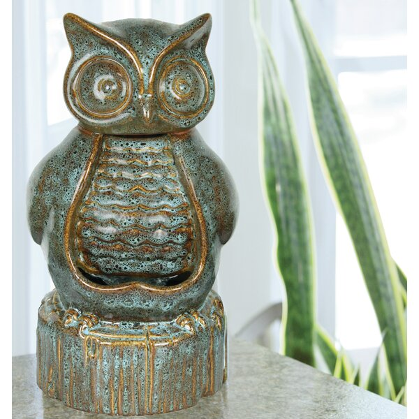 Ceramic Owl Fountain by Beckett