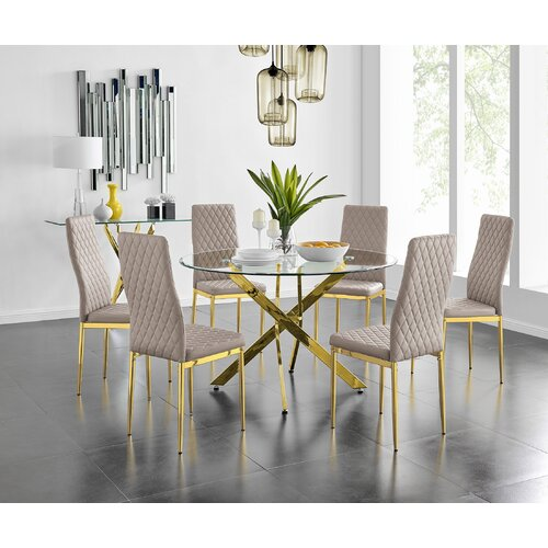 Samirah 120Cm Gold Round Dining Table And 6 Cappuccino Gold