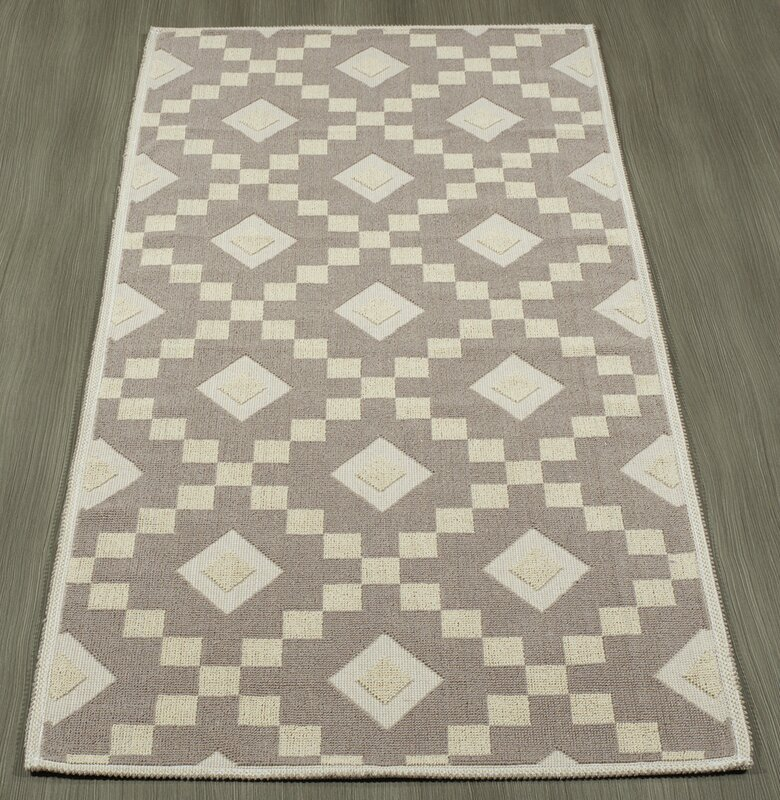 Wrought Studio Heim Nature Cotton Diamond Trellis Brown Cream Area