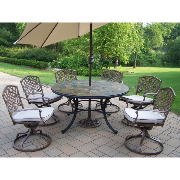 Stone Art Dining Set with Cushions and Umbrella by Oakland Living