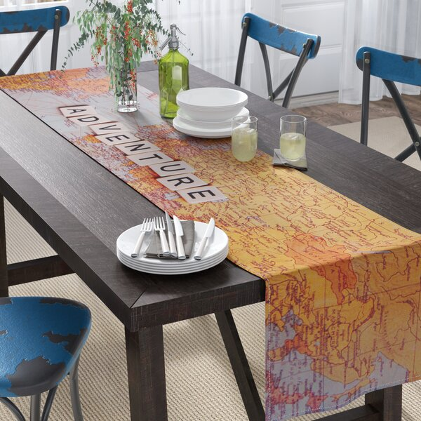 Sylvia Cook Adventure Map World Table Runner by East Urban Home