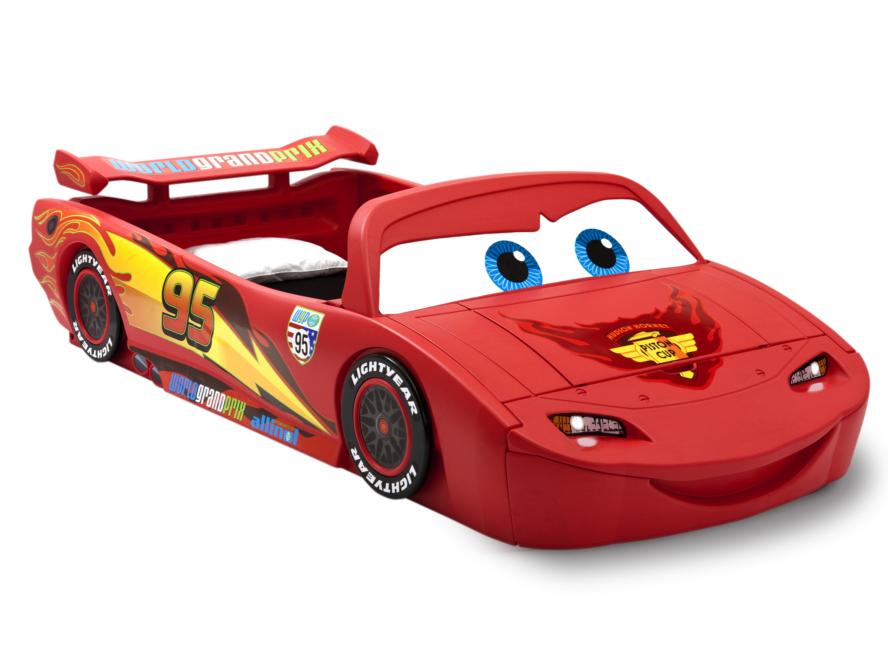 Delta Children Disney Pixar Cars Lightning Mcqueen Car Bed With Lights And Toy Box Reviews Wayfair