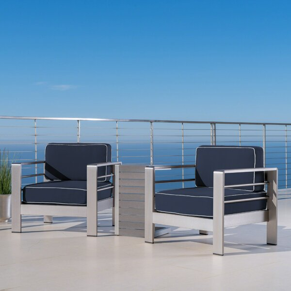 Royalston 3 Piece Sunbrella Seating Group with Cushions by Brayden Studio