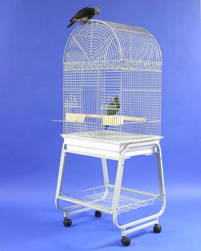Minnie Dome Top Bird Cage with Plastic Base and Stand by Tucker Murphy Pet
