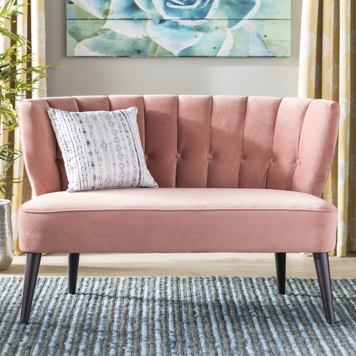 of hudson current image large tufted upholstered swoop room sofa settee with bench size loveseat dining or
