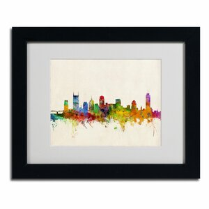 Nashville Skyline by Michael Tompsett Matted Framed Graphic Art by Trademark Fine Art